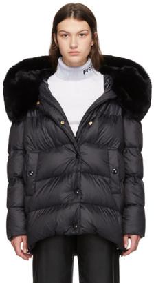 Yves Salomon Black Down Rex Rabbit Fur Coat