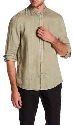 Raffi Banded Collar Long Sleeve Linen Shirt