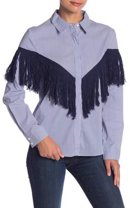 ENGLISH FACTORY Fringe Detail Striped Button Down Shirt