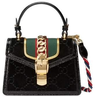 Gucci Mini Sylvie Velvet Top Handle Bag