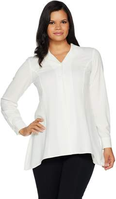 Linea By Louis Dell'olio by Louis Dell'Olio Wing Collar Blouse w/ Swing Hem