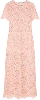 Ganni Duval Corded Lace Midi Dress - Pastel pink