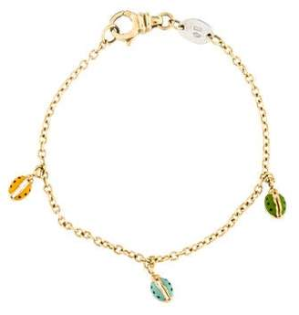 Aaron Basha 18K Enamel Lady Bug Child's Bracelet