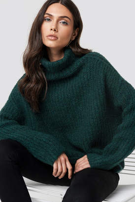 Di Lara Dilara X Na Kd Oversize Polo Knit Sweater Dark Green