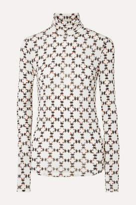 Isabel Marant Joyela Printed Stretch-jersey Turtleneck Top - Ecru