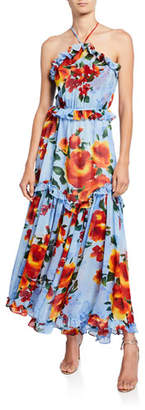 MISA Los Angeles Dallin Tiered Floral-Print Ruffle-Trim Halter Maxi Dress