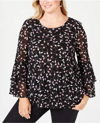Alfani Plus Size Printed Mesh Bell-Sleeve Top