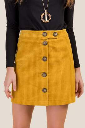 francesca's Electra Button Front Mini Skirt - Mustard