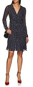 Derek Lam Women's Dot-Print Smocked-Front Silk Dress - Navy