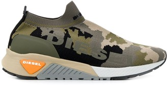 camouflage knit sneakers