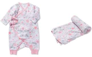 Angel Dear Bunny Print Romper & Swaddling Blanket Set