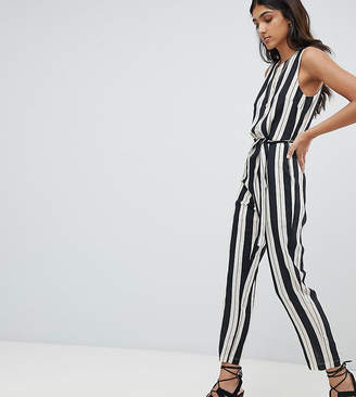 Glamorous Tall Jumpsuit With Tie Waist In Stripe