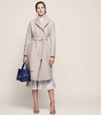 Reiss Deena Wool Blend Wrap Neck Coat