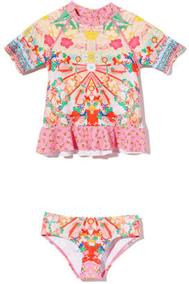 Camilla Patterned Rash Guard w/ Matching Bottoms, Size 4-10