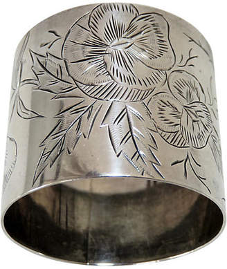 One Kings Lane Vintage Antique Sterling Floral Napkin Ring