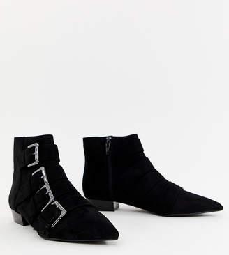 Bershka buckle detail flat boot in black