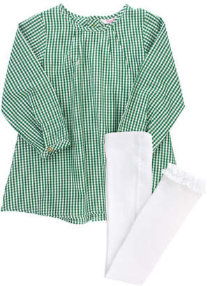 RuffleButts Girl's Gingham Button Back Dress w/ Knit Tights, Size 3M-8