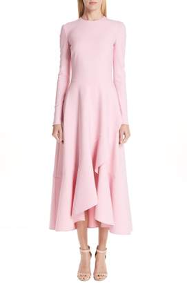 Oscar de la Renta High/Low Ruffle Hem Stretch Wool Midi Dress