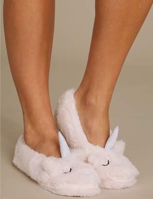 Marks and Spencer Fleece Unicorn Ballet Slipper Socks