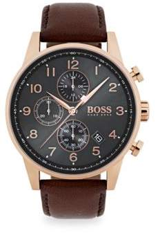 HUGO BOSS Navigator Ionic Rose Gold-Plated Steel& Brown Chronograph Leather Strap Watch