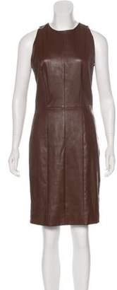 The Row Leather Sheath Dress Brown Leather Sheath Dress