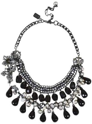 Badgley Mischka Gunmetal with Green Glass Beads, Crystal and Pearl Chain Link Bib Necklace