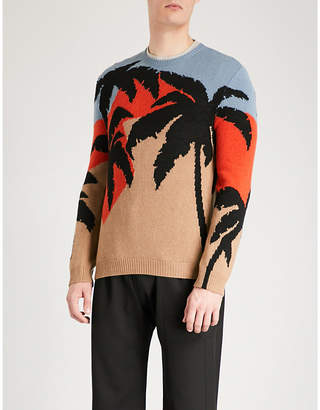 Valentino Palm tree intarsia wool and cashmere-blend jumper
