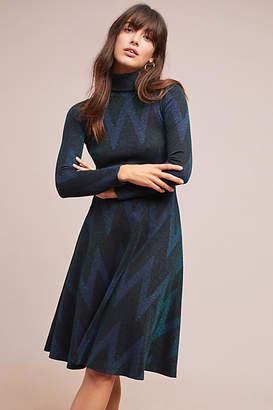 Ottod'Ame Chevron Mock Neck Dress