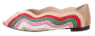 Fendi Raffia Peep-Toe Flats
