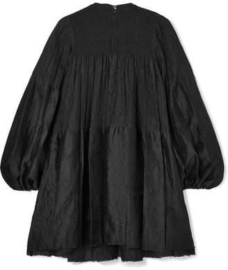 Marques Almeida Marques' Almeida - Oversized Ruched Crinkled Crepon-jacquard Mini Dress - Black