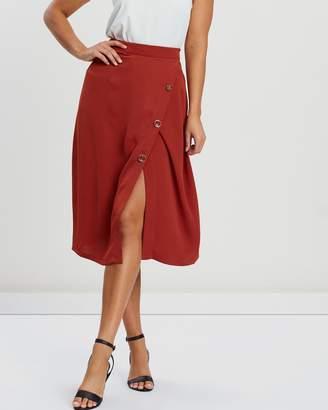 Atmos & Here Wrap Over Midi Skirt