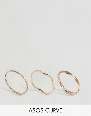ASOS Curve ASOS CURVE Pack of 3 Plaited Ring Pack $9.50 thestylecure.com