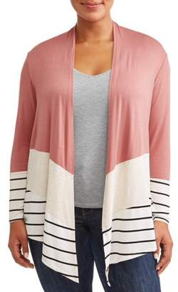 Tru Self Women's Plus Size Color Block Cardigan with Stripes