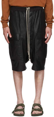 Rick Owens Black Leather Ricks Pods Shorts
