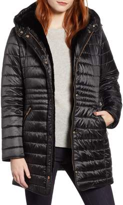 Gallery Channel Quilted Jacket with Faux Fur Lined Hood