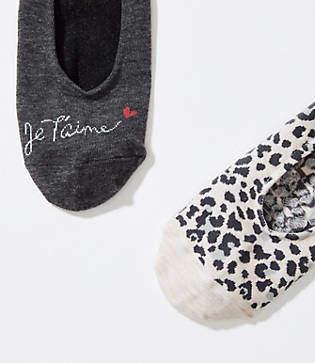 LOFT Je T'Aime & Leopard No Show Sock Set