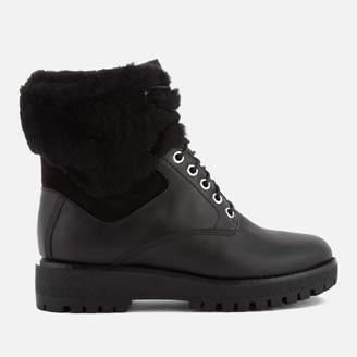 MICHAEL Michael Kors Women's Teddy Leather Lace Up Boots - Black