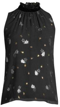 Rebecca Taylor Sleeveless Metallic Tulip Blouse
