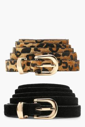 boohoo Plus Orla 2 Pack Leopard + Suedette Belt