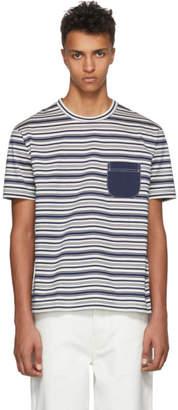 Junya Watanabe Navy and White Horizontal Striped T-Shirt