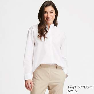 Uniqlo WOMEN Extra Fine Cotton Stand Collar Long Sleeve Shirt