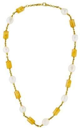 Judith Ripka 18K Pearl & Citrine Station Necklace