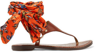 Sam Edelman - Giliana Leather And Printed Satin Sandals - Brown $90 thestylecure.com