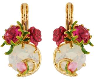 Les Nereides Balad In Versailles Stone and Rose and Bud French Hook Earrings - Pink