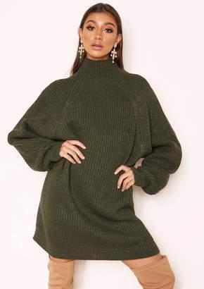 10570baa05 Missy Empire Missyempire Amie Khaki Chunky Knit Jumper Dress