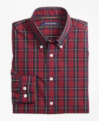 Brooks Brothers Boys Non-Iron Holiday Plaid Sport Shirt