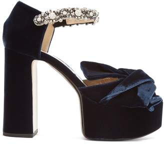 No.21 NO. 21 Bow-front velvet block-heel sandals