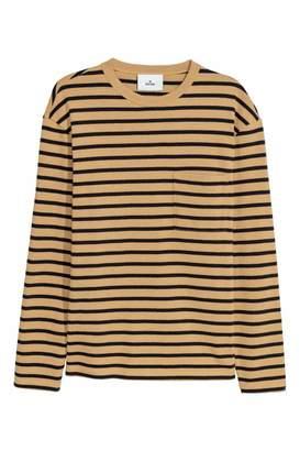 H&M Striped Cotton Shirt - Dark beige/black striped - Men