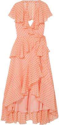 Temperley London Ruffled Polka-dot Silk-chiffon Wrap Dress