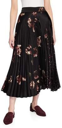 Vince Mixed Tulip-Print Pleated Skirt